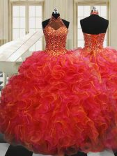 Halter Top Sleeveless Organza Floor Length Lace Up Ball Gown Prom Dress in Multi-color with Beading and Ruffles