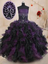 Ball Gowns Quinceanera Dresses Black And Purple Strapless Organza Sleeveless Floor Length Lace Up