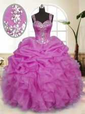 Pick Ups Straps Sleeveless Zipper Quinceanera Gown Lilac Organza