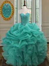 Turquoise Sleeveless Floor Length Beading and Ruffles and Pick Ups Lace Up Ball Gown Prom Dress