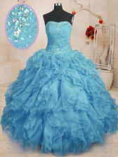 Sleeveless Organza Floor Length Lace Up Sweet 16 Dresses in Baby Blue with Beading and Ruffles and Ruching