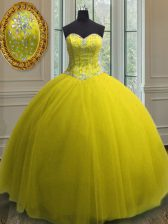Gorgeous Tulle Sweetheart Sleeveless Lace Up Beading and Sequins Ball Gown Prom Dress in Yellow