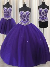 Three Piece Sleeveless Floor Length Beading and Sequins Lace Up 15 Quinceanera Dress with Purple