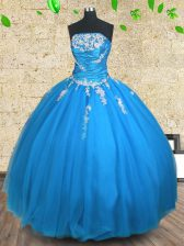 Blue Sleeveless Appliques and Ruching Floor Length Sweet 16 Dresses