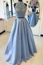 Hot Selling Lace Prom Dress Light Blue Criss Cross Sleeveless