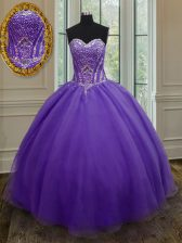 High Quality Floor Length Ball Gowns Sleeveless Eggplant Purple Ball Gown Prom Dress Lace Up