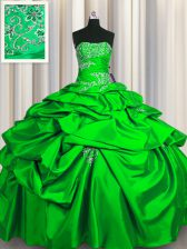 Green Sleeveless Floor Length Appliques and Pick Ups Lace Up Sweet 16 Dresses