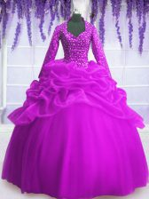 Smart Fuchsia Long Sleeves Sequins and Pick Ups Floor Length Ball Gown Prom Dress