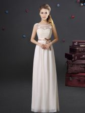 Graceful See Through Scoop Sleeveless Chiffon Quinceanera Dama Dress Lace and Appliques and Belt Lace Up