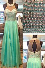 Dazzling Apple Green Sleeveless Beading Floor Length Evening Dress