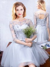 Scoop Grey Half Sleeves Tulle Lace Up Quinceanera Court of Honor Dress for Prom and Party and Wedding Party