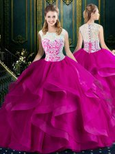 Dynamic Brush Train Ball Gowns Sweet 16 Dress Fuchsia Square Tulle Sleeveless With Train Clasp Handle