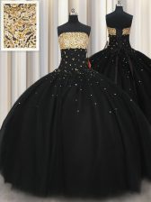 Extravagant Floor Length Lace Up Quinceanera Gown Black for Military Ball and Sweet 16 and Quinceanera with Beading
