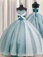 Beauteous Spaghetti Straps Half Sleeves Organza Quince Ball Gowns Beading and Ruching Lace Up