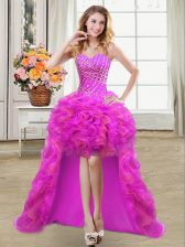 Purple Prom Dresses Prom and Party with Beading and Ruffles Sweetheart Sleeveless Lace Up