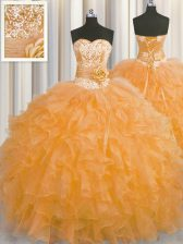 Edgy Handcrafted Flower Ball Gowns Vestidos de Quinceanera Orange Sweetheart Organza Sleeveless Floor Length Lace Up