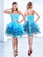 Sweetheart Sleeveless Prom Dresses Mini Length Beading and Ruffled Layers Blue Organza