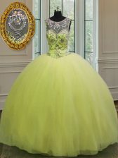 High Class Yellow Green Sleeveless Floor Length Beading Lace Up Quinceanera Dresses