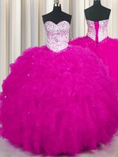 Edgy Fuchsia Lace Up Quince Ball Gowns Beading and Ruffles Sleeveless Floor Length