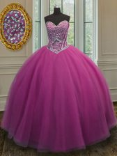 Eye-catching Lilac Ball Gowns Tulle Sweetheart Sleeveless Beading Floor Length Lace Up 15 Quinceanera Dress