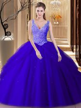 Smart Royal Blue V-neck Backless Lace and Appliques and Pick Ups 15th Birthday Dress Sleeveless