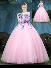 Flirting Scoop Baby Pink Tulle Lace Up Ball Gown Prom Dress Long Sleeves Floor Length Appliques