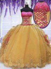 Latest Floor Length Ball Gowns Sleeveless Gold Vestidos de Quinceanera Lace Up