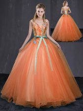 Sleeveless Lace Up Floor Length Beading and Belt 15th Birthday Dress