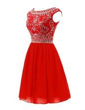 Scoop Sleeveless Zipper Prom Party Dress Red Chiffon