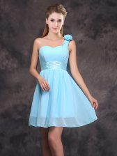Exceptional One Shoulder Sleeveless Chiffon Dama Dress for Quinceanera Ruching and Hand Made Flower Zipper