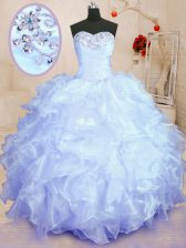 Fitting Sleeveless Floor Length Beading and Ruffles Lace Up Sweet 16 Dresses with Lavender