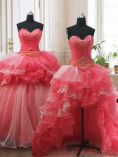 Spectacular Three Piece Sleeveless Brush Train Beading and Ruffled Layers Lace Up 15 Quinceanera Dress