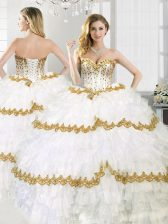 Extravagant White Sweetheart Lace Up Ruffled Layers Ball Gown Prom Dress Sleeveless