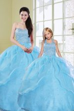 Clearance Sequins Floor Length Ball Gowns Sleeveless Baby Blue 15 Quinceanera Dress Lace Up