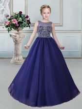 Scoop Floor Length Royal Blue Pageant Gowns For Girls Organza Sleeveless Beading