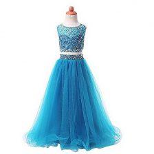 Organza Scoop Sleeveless Zipper Beading Flower Girl Dresses in Aqua Blue