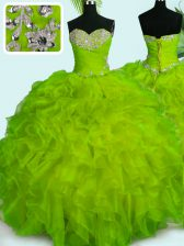 Latest Yellow Green Organza Lace Up Ball Gown Prom Dress Sleeveless Floor Length Beading and Ruffles