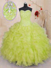 Organza Sweetheart Sleeveless Lace Up Beading and Ruffles 15th Birthday Dress in Yellow Green