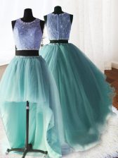 Custom Design Three Piece Scoop Sleeveless Organza and Tulle and Lace Sweet 16 Dress Beading and Ruffles Brush Train Zipper