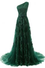 Dynamic One Shoulder Tulle Sleeveless Prom Evening Gown Sweep Train and Beading and Appliques