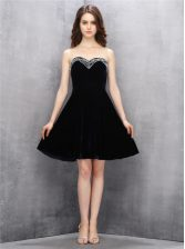 Black Sweetheart Zipper Beading Prom Party Dress Sleeveless