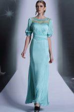 Pretty Aqua Blue Column/Sheath Sequins and Pleated Zipper Chiffon Half Sleeves Floor Length
