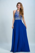 Eye-catching Empire Homecoming Dress Royal Blue Scoop Chiffon Sleeveless Floor Length Criss Cross