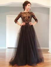 Top Selling Black 3 4 Length Sleeve Floor Length Beading and Lace Backless