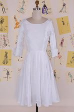 Glamorous Column/Sheath Prom Dress White Scoop Chiffon Half Sleeves Knee Length Zipper