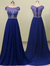 Scoop Royal Blue Zipper Evening Dress Beading Cap Sleeves With Brush Train