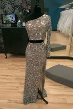Silver Sequined Zipper One Shoulder Long Sleeves With Train Evening Dress Sweep Train Beading