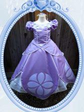 Amazing Ball Gowns Toddler Flower Girl Dress Lavender Scoop Satin Short Sleeves Floor Length Zipper
