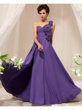 One Shoulder Hand Made Flower Prom Evening Gown Purple Side Zipper Sleeveless Floor Length