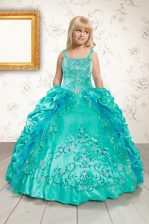 Aqua Blue Ball Gowns Beading and Appliques and Pick Ups Little Girls Pageant Dress Wholesale Lace Up Satin Sleeveless Floor Length